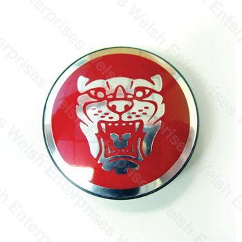 Jaguar Wheel Motif - Red with Silver Catface