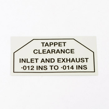Jaguar Tappet Clearance Decal