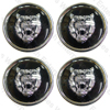 Jaguar Wheel Motif - Black with Silver Catface - Set Of 4