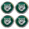 Jaguar Wheel Motif - Green with Silver Cat Face - Set Of 4