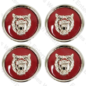 Jaguar Wheel Motif - Ruby with Silver Cat Face - Set of 4