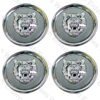 Jaguar Wheel Motif - Gray with Silver Cat Face - Set Of 4