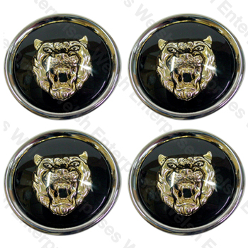 Jaguar Wheel Motif - Black with Gold Catface - Set Of 4