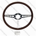 Jaguar Wood Steering Wheel - Aluminum 15""