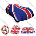 UNION JACK MEGA DEAL - Jaguar Union Jack Indoor Car Cover (Medium) with FREE Union Jack Blanket, Mirror Covers, & Steering Wheel Cover