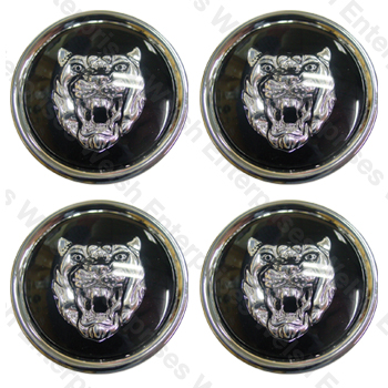 Wheel Motif - Black with Silver Catface - Set Of 4