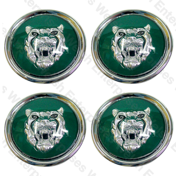 Wheel Motif - Green with Silver Catface - Set Of 4